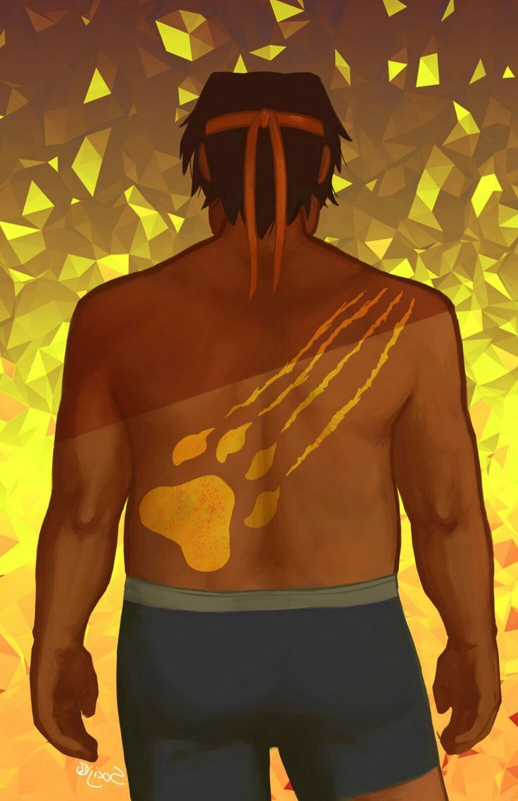 Hunk and Yellow Lion paw print tattoo on his back from Voltron Legendary Defender