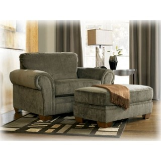 Charcoal Chair And A Half with Ottoman