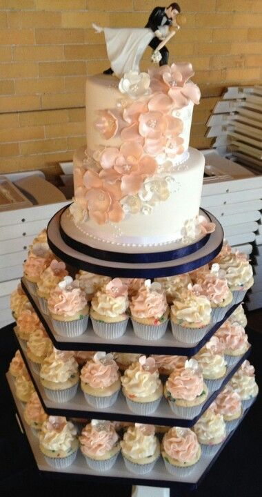 Navy, Cream, and Blush Cake & Cupcake Combo