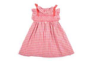 Vestido para bebe niña, con diseño de cuadritos en rosado oscuro y gris.