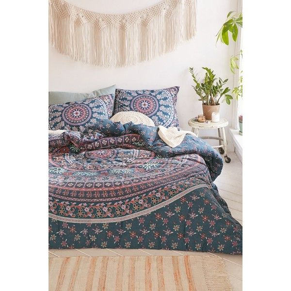 Jiya Medallion Comforter ($139) ❤ liked on Polyvore featuring home, bed & bath, bedding, comforters, medallion comforter, twin xl comforter, bohemian comforter, urban outfitters bedding and king size cotton comforter