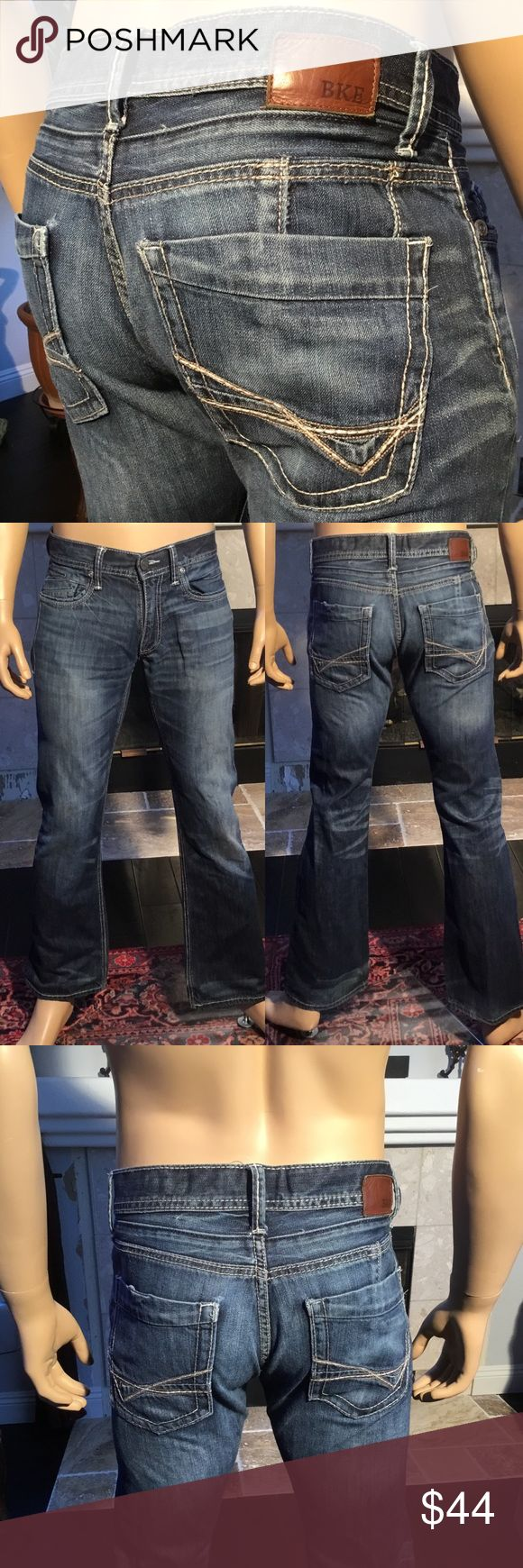 BUCKLE BKE Carter Bootcut Jeans Mens 30R (834) BUCKLE BKE Carter Bootcut Thick Stitch Denim Jeans Mens Distressed  Size men's 30R Approximate measurements are inseam 32, waist 16, rise 9 In excellent used condition  Factory distressed  From a smoke free home (834) BKE Jeans Bootcut
