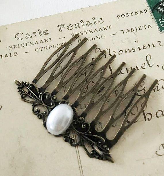 Peine del pelo perla de Novia de pelo nupcial blanco peine marfil perla diapositiva de pelo damas de honor estilo Vintage estaño bronce victoriano moderno rústico JW