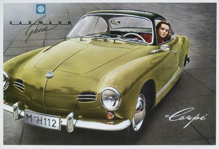 volkswagen coupé karmann ghia : 1955 affiches anciennes de ANONYM