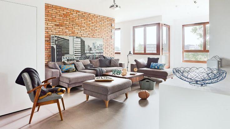 """Cegły ocieplają minimalizm, świetnie """"grają"""" z wnętrzami w stylu boho"""