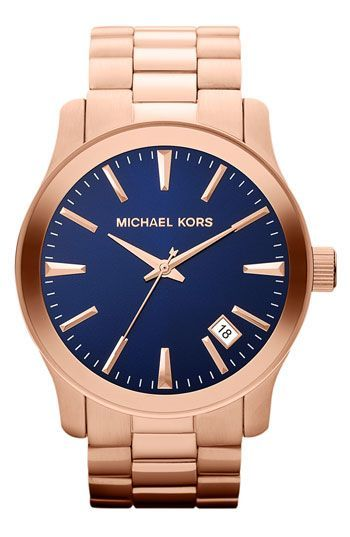 Michael Kors 'Runway' Blue Dial Bracelet Watch available at #Nordstrom