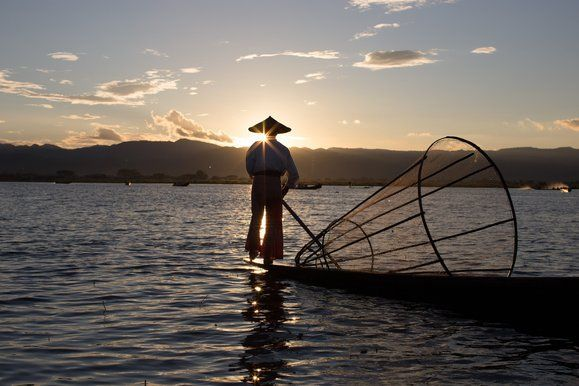 More from Amanda Jones: A fisherman at sunset at Inle Lake, a traditional water-based community in Myanmar.