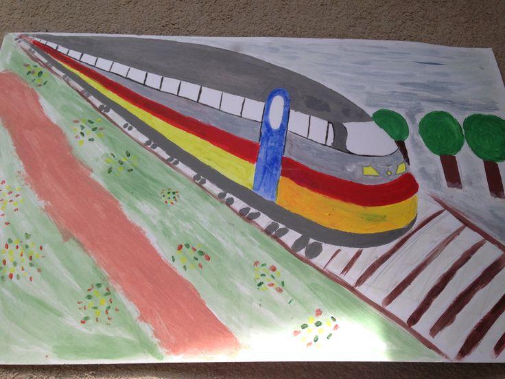 Praatplaat /  decoratie - - > trein.
