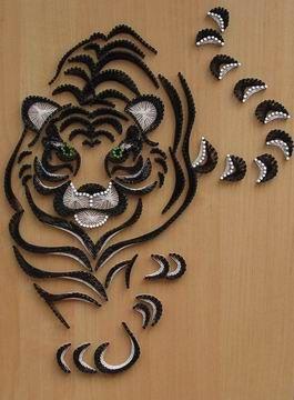 String art, tableau en fils tendus avec un superbe tigre