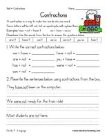 Contractions Worksheet: Use the words from the box to answer the questions below. Information: Contractions Worksheet. Contraction Worksheet. Apostrophe. Answer Key Included.