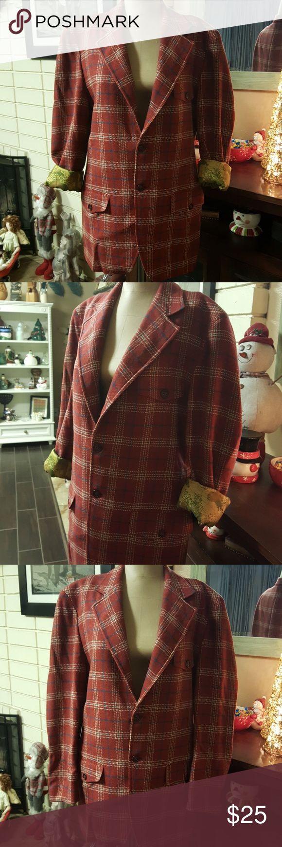 "Vintage Plaid Wool Blazer Men's Yorktowne Vintage Plaid Wool Blazer Men's Yorktowne Vintage Worn Chest 39"" inches. Vintage Suits & Blazers Sport Coats & Blazers"