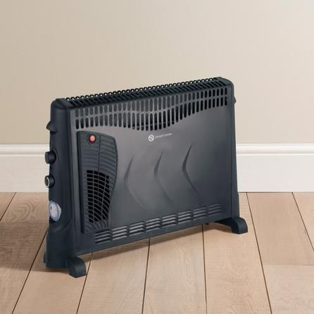 Dunelm Sturdy Black 2KW Convector Heater with Turbo & Timer