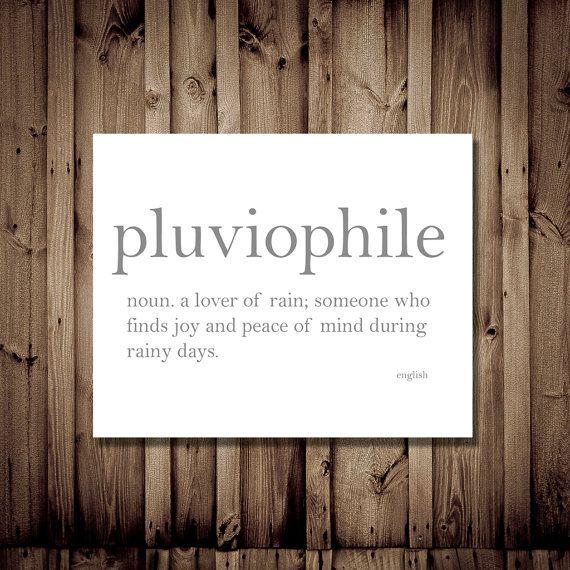 Pluviophile - Lover of Rain - Dictionary Definition Typography Print, Cozy Home Decor, Literature Lover, Unique Gift, Quote Art