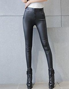 Bayanlar Seksi / Sokak Şıklığı Dar Kesim PU Streç Bayanlar Pantolon