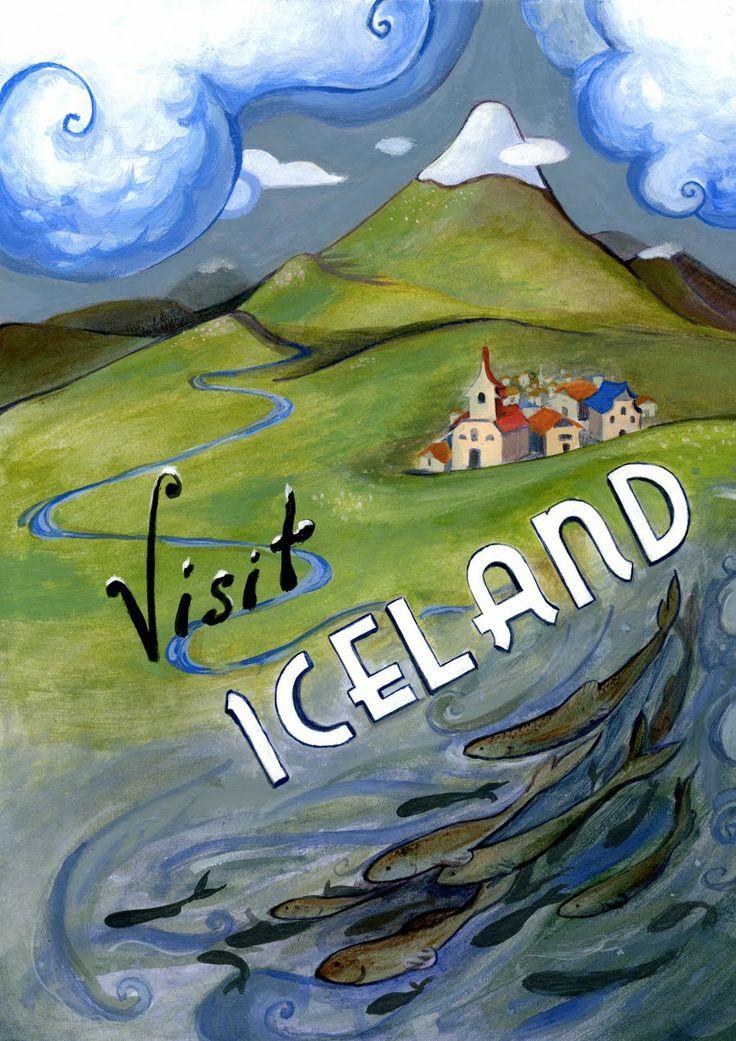 Iceland, vintage travel poster