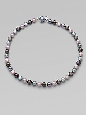 Majorica 8MM Round Grey, Nuage & Tahitian Pearl Strand Necklace