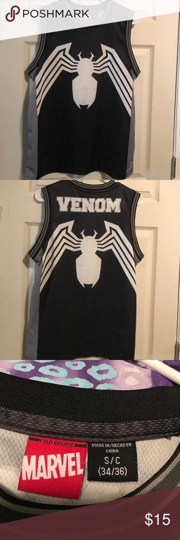 Marvel Venom shirt Black and white with the spider on front and back, perfect condition bought for my son and he got to wear it once before he outgrew it! Marvel Shirts Tank Tops