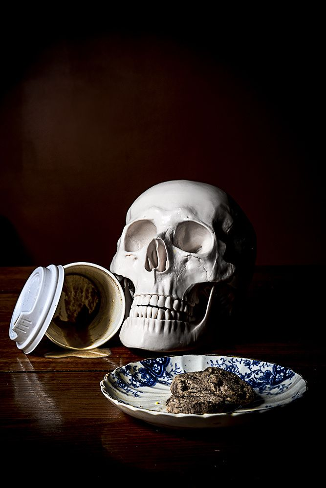 UNTITLED still life photograph by #CheechSanchez 2014 #skull #skulls skulls #vanitas vanitas #stilllife stilllife #coffee coffee