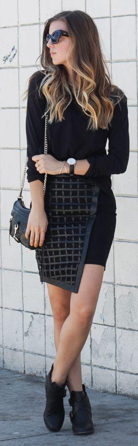 Bariano Black Check Asymmetrical Wrap Mini Skirt