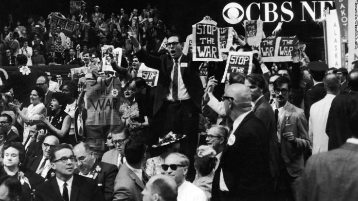 Vietnam War protests outside the Democratic National Convention in Chicago, 1968.