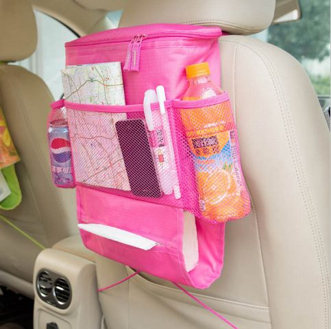 Organize your car and keep your backseat passengers happy with this convenient car seat back organizer.  .https://www.thtshopping.com/product-page/car-back-seat-organizer-with-cooler-bag-pink