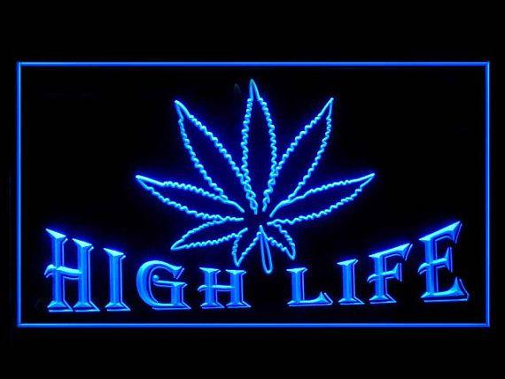 220001B Marijuana Hemp Leaf High Life Virtual Weed Smoking Peace LED Light Sign