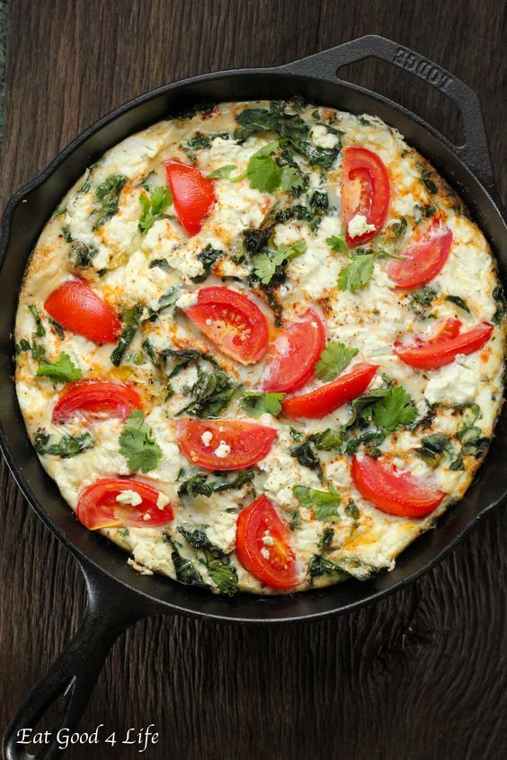 Egg white kale goat cheese tomato frittata made with mainly egg whites to increase the protein and lower the cholesterol. Done in 20 minutes.