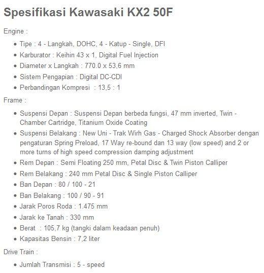 Spesifikasi dan Harga Kawasaki KX 250F Terbaru | JaLu NgeduL