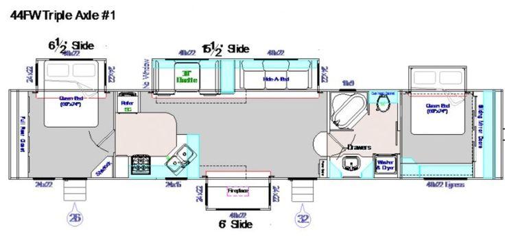 44 foot fifth wheel, 4 slide outs, 2 exit doors, corner kitchen