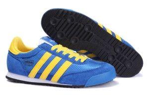 shop online outlet Adidas Originals Dragon Scarpe da uomo blu cielo scuro e giallo brillante