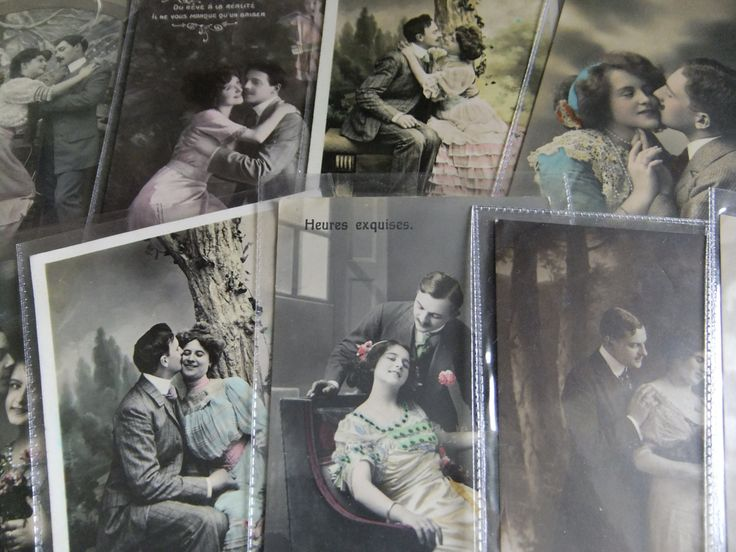 A set of Edwardian Vintage postcards ten postcards with writing in code? and some with stamps/French postcards/sweethearts/wedding gift. by MrsOldSchoolShop on Etsy