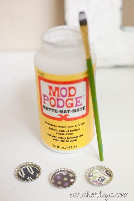 Bottle Cap Magnets - mod podge, gorilla glue for magnet, dimensional magic (and marble magnets)