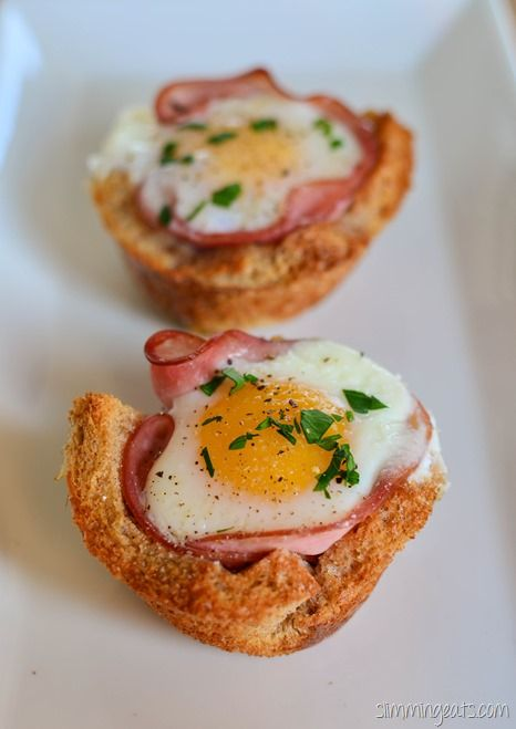 Slimming Eats Egg and Ham in a Toast Basket - dairy free, Slimming World (SP) and Weight Watchers friendly