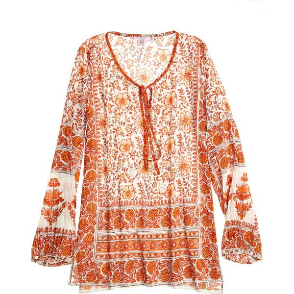 Bethen Printed Cotton Voile Tunic ($195) ❤ liked on Polyvore featuring tops, tunics, pink tunic, tassel top, pink top, neck ties and summer tunics