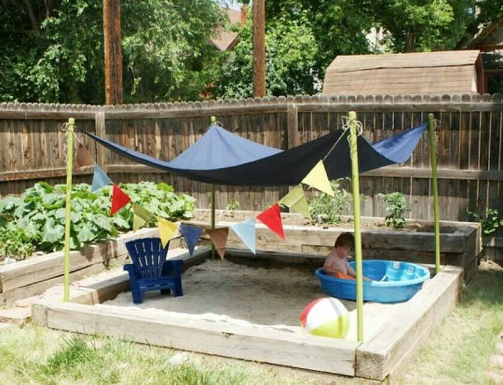 Backyard beach for kids and shade what a neat idea! looks fairly easy too. :)