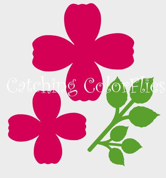 Grande fiore rosa di carta modelli e i file in formato SVG, decorazione di fiori di carta fai da te, ricevimento di nozze decorazione, tutorial fiore carta & modelli