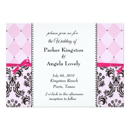 Pink Damask Card - wedding ideas diy marriage customize personalize couple idea individuel