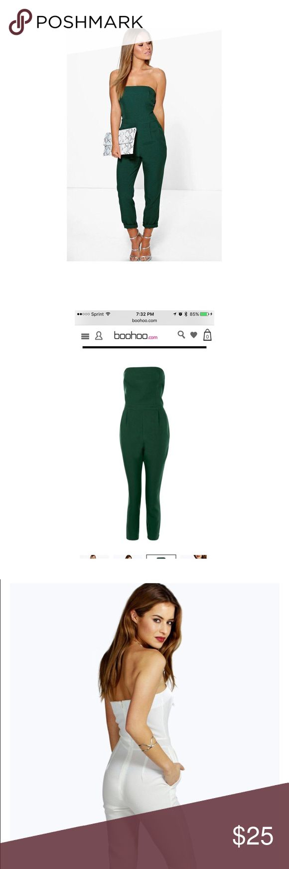Bottle Green Playsuit/ Jumpsuit Never worn! I purchased the wrong size but I loved it so much that I went and purchased the correct size. From Boohoo (petite) will fit a size 2/4 not much stretch. My lost your gain Boohoo Petite Dresses Strapless