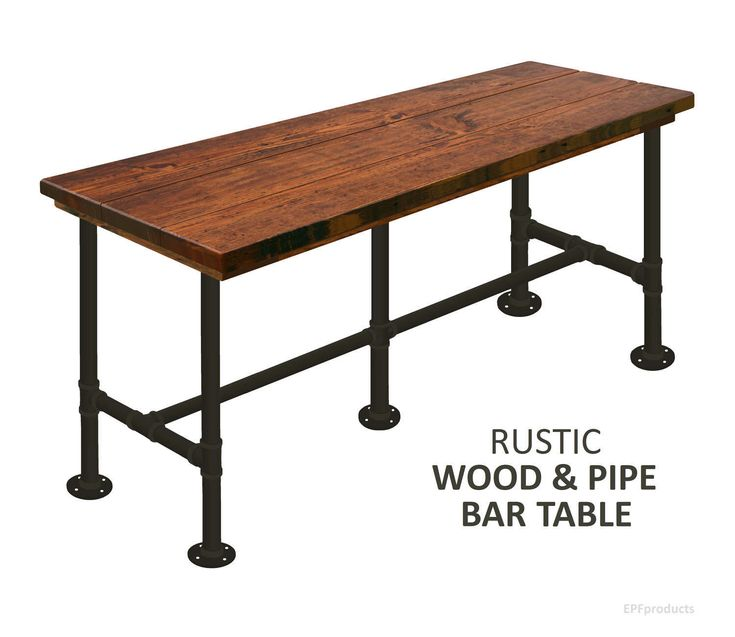Bar Table Industrial Pub Table, Industrial Bar Table, Rustic Wood And Pipe Bar  Table