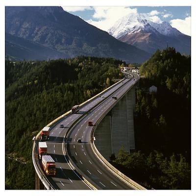 ...Drive across the Europa Bridge at  Brenner Pass in Austria; Europe's highest bridge - a wonder of engineering.