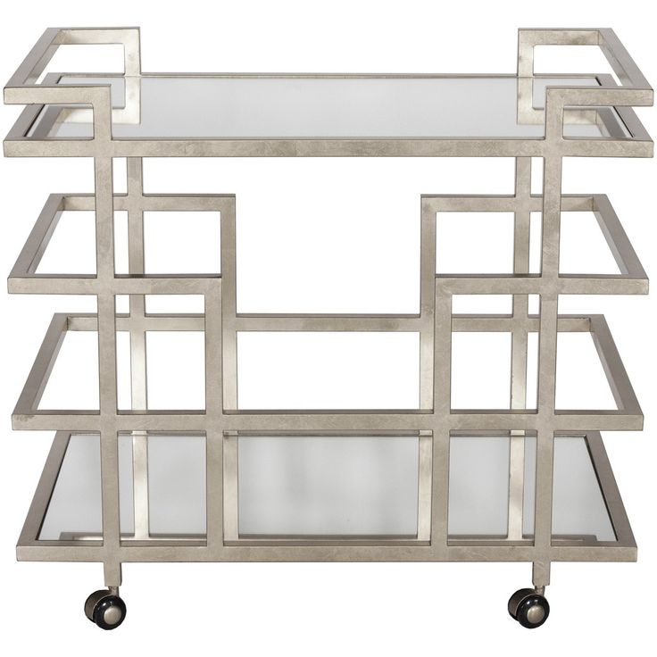 Silver leaf linear bar cart with mirror shelves