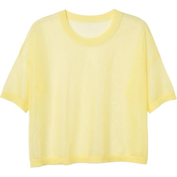 Monki Gala knitted top ($34) ❤ liked on Polyvore featuring tops, t-shirts, shirts, clothes - tops, chemical lemon, beige shirt, t shirts, monki, shirts & tops and beige t shirt