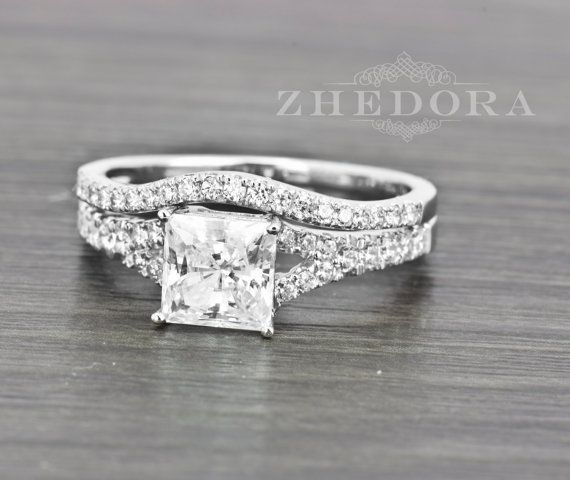 2.0 Carat Princess Cut Engagement Bridal set ------ A Wedding Ring + Matching Wedding Band Made from real 14K 18k White Gold and Amorphous Lab-Created