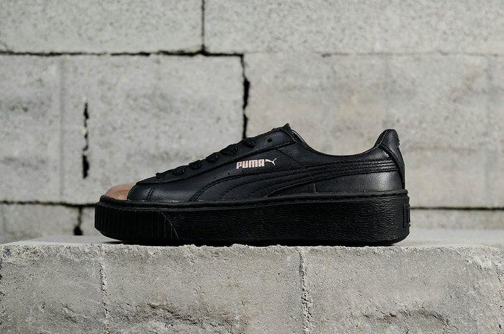 a466de17685 2018 Purchase Womens PUMA Basket Platform Metallic Black-Rose Gold 366169-02  Classic Lifestyle Sneakers