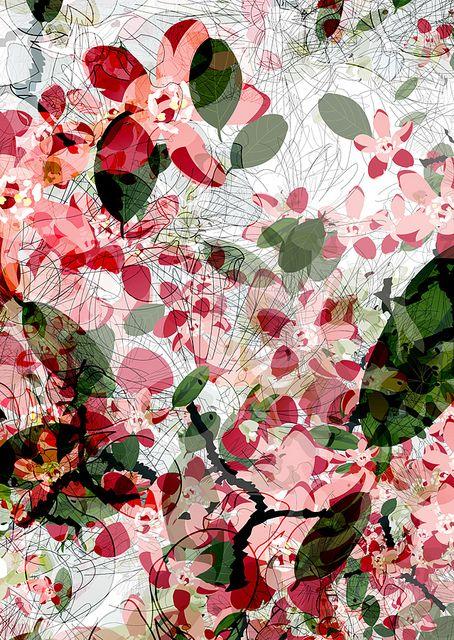 Floral pattern pink olive green