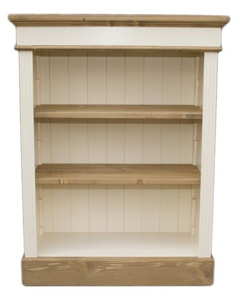 PINE BOOKCASE SMALL 2 ADJUSTABLE SHELVES WAXED AND CREAM PAINTED