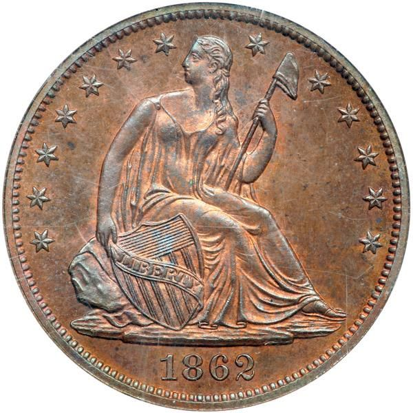 1862 Pattern Half Dollar. Copper, reeded edge. NGC PF66 Well struck with some red still visible. A glowing example of this early proposal for the National Motto has the short version GOD OUR TRUST on a scroll above the eagle. Later, the Mint would substitute the more familiar sounding IN GOD WE TRUST. . Estimated Value $6,000 - 6,500. #Coins #US #HalfDollars #MADonC