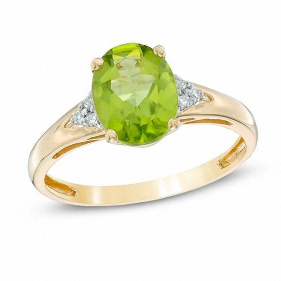 Zales Oval Peridot and Diamond Accent Frame Ring in 10K Gold 84qo6By