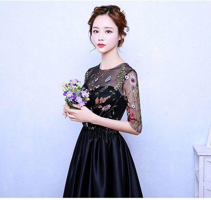 ワンピース エレガント♪  フラワー 刺繍 シースルー ドレス ワンピース(3)