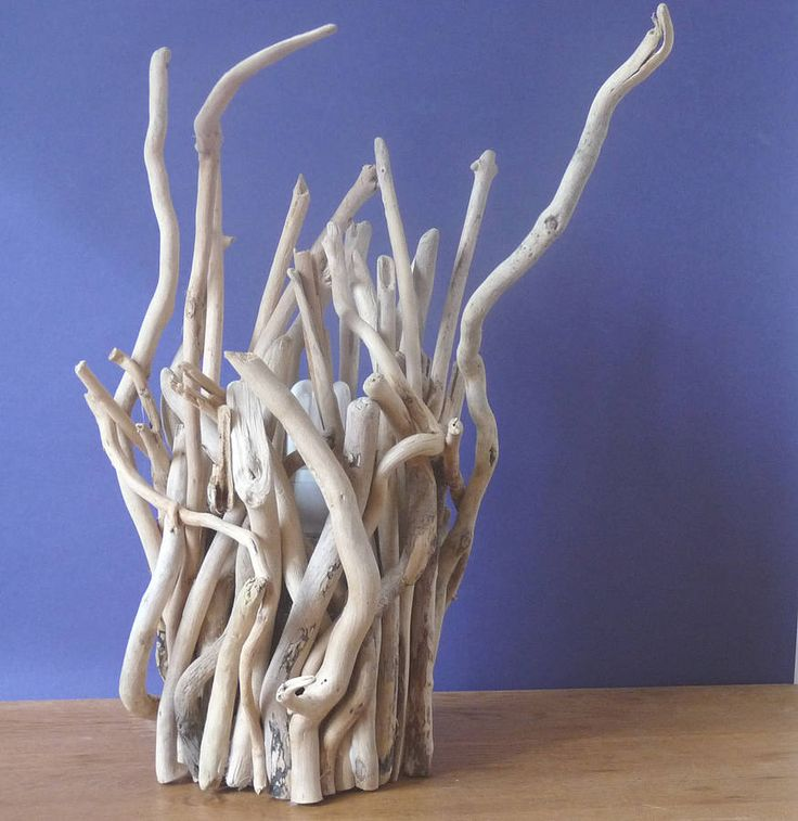 Driftwood Twig Lamp Idea. Browse driftwood crafts on Completely Coastal: http://www.completely-coastal.com/search/label/Driftwood%20Crafts